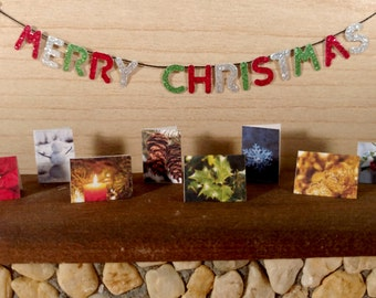 Dollhouse Holiday Cards & Envelopes, Set of 4, 8, or 12 Miniature Christmas Cards, 1:12 Scale