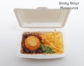 Pie and Chips Takeaway Box - Miniature 1:12 Scale Food