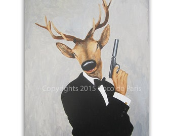 Deer Painting on canvas, oil painting, arylic painting, deer art, spectre, james bond painting, black and white painting, arty birthday gift