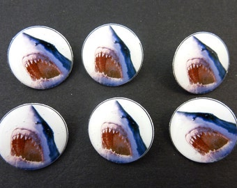 "6 Great White Shark Sewing Buttons.  Handmade Buttons. 3/4"" or 20 mm Shank Style Shark Buttons for sewing. Handmade By Me."