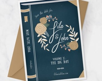 Vintage Book Wedding Save the Date - Library Wedding Save the Date - Book Cover Invitation - Book Theme Wedding - Library Theme