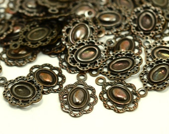 50  Pieces Antique Copper Filigree  Leaf 10x15 mm Findings