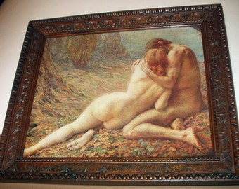 Nude Couple Embracing Adam and Eve Antique Late 1800s Print Gorgeous Wood Carved Walnut or Mahagony Frame Artist Georges LaVergne