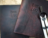Handmade Leather Beer Journal-customized with initials
