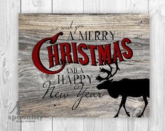 We wish you a Merry Christmas Art Print, Christmas Art, Farmhouse Christmas Decor, Holiday Art, Rustic Christmas Poster