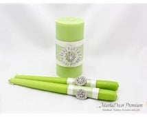 Set of 3 Wedding Unity Candle Set Bridal Brooch Ceremony Centerpiece Candles Table Decorations in Green and Ivory