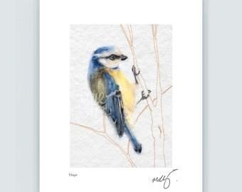 Bluebird print, bluetit art, bird of hope