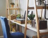 Boho Office Desk A Frame Design Gold and White Finish