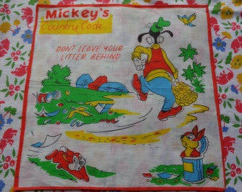 Mickey Mouse Vintage Children's Handkerchief
