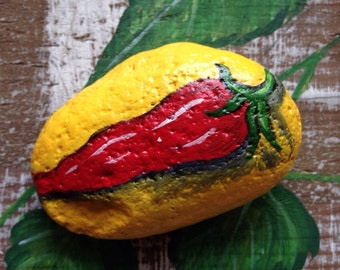 Painted Chile Pepper Rock Plant Marker Painted Rock Paperweight