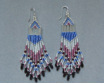 Silver, Blue, Rose Native American Style Seed Beaded Earrings
