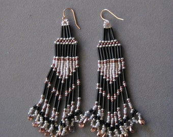 Rose,Black, and Light Pink  Native American Style Seed Beaded Earrings