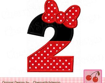 "Number 2 Minnie Birthday Embroidery Applique Design -4x4 5x5 6x6"""