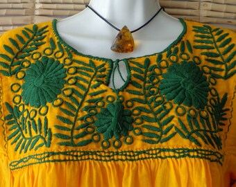 Yellow Embroidered Mexican Huipil Blouse Tunic Peasant Style