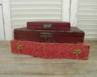 Three Red Cutlery Boxes, Vintage Cutlery Boxes, Empty Cutlery Boxes for Altered Art, Craft Supplies, Upcycle, Recycle,