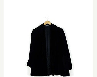SUMMER SALE Vintage Plain Black Velour Slouchy Jacket /Blazer from 90's /Minimal Jacket*