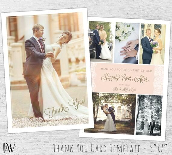 Wedding Thank You Template Photo Card Template Wedding Thank You