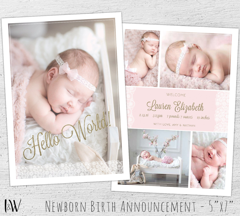 Newborn announcement template photoshop template new baby for Baby announcement template free