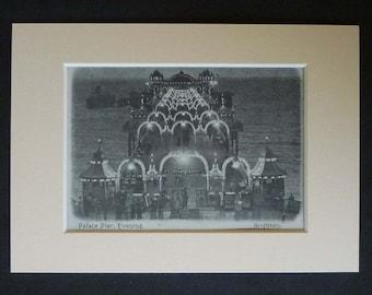 Vintage Brighton Print of Marine Palace Pier, Historical English Seaside Print, British Victorian Beach Decor, Available Framed, Tourist Art