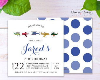 Air Planes Child's Birthday Invitation - Baby, Toddler, Kid's Pilot Birthday Party Invite - Air Travel Helicopter Party - Digital File