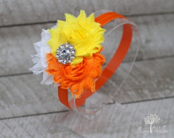 Candy Corn Flower Headband -  Halloween Headband - Orange Yellow and White Headband - Baby Headband - Adult Headband - Photo Prop