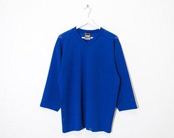 on sale - cobalt blue loose mesh jersey / unisex royal blue sport shirt / size L / XL