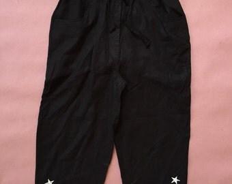 black linen culottes | linen slouch pants
