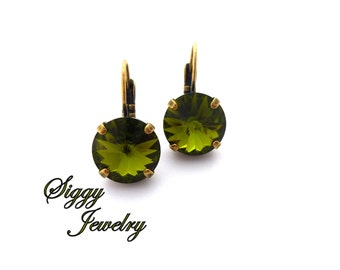 Olivine Swarovski Crystal Earrings, 12mm olive green, Drop Lever Back, SELECT-A-FINISH, Siggy Jewelry, Gift For Her, FREE Shipping