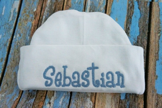 New born baby  hat, baby girl hat, baby boy hat,  hospital hat, knit beanie hat, personalized new born hat.  Pink, blue, white available.