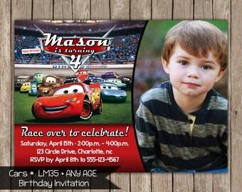Cars Any Age Photo Birthday Invitation OR Thank you card Digital File Printable Photo Card  Digital File