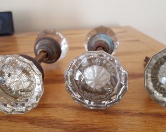 Vintage Glass Door Knobs Set Of Two and One Half
