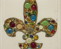READY TO SHIP Wooden fleur de lis ornament with glass beads