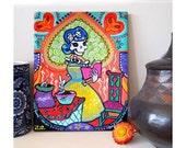 La Catrina Canvas Art Print Kitchen Catrina Day of the Dead Skeleton Chef Mexican Folk Art Cook Rockabilly Baker Gift Bones Nelson Stirring
