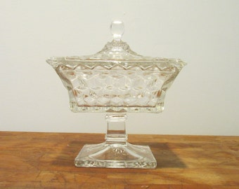 Fostoria American Footed covered candy dish