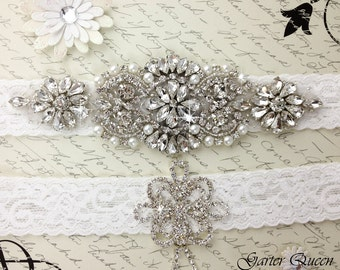 Wedding Garter Set, Wedding Garter Belt, Wedding Garter, Wedding Garter Set, Stretch Lace Garter, Crystal Rhinestone Garter Set