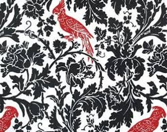 Barber Black Lipstick Premier Prints Fabric - One Yard -  Black, Red, and White Home Decor Fabric