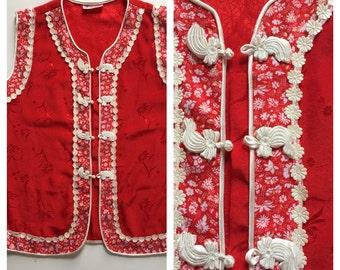 70s Vintage Chinese Silk Blouse - Ethnic Red Silk Hippie Chic Vest Top