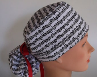 Note Worthy Ponytail - Womens lined surgical scrub cap, surgical hat, Nurse cap, 166-100 W