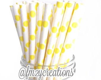 Paper Straws, 25 Polka Dot YELLOW Paper Straws, Cake Pops, Yellow Weddings, Yellow Baby Shower, Yellow Birthday Party, Diy Flags