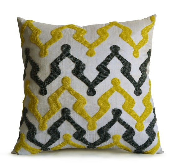 Beaded Grey Throw Pillow : Yellow Grey Silk Throw Pillow Cover Ivory Silk With Beaded