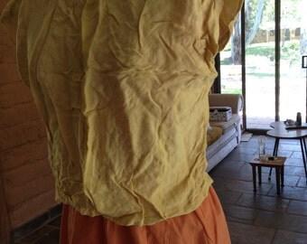 Vintage lemon linen top in need of tlc