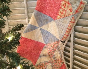 Quilted Christmas Stocking from Vintage Cutter Quilt #2