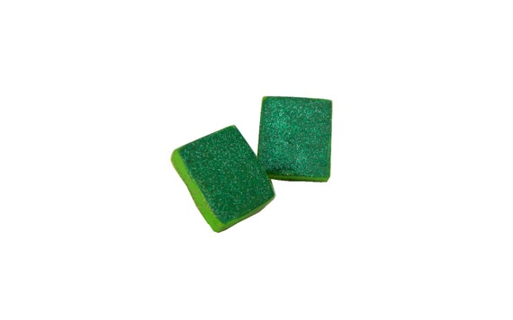 Glittery Green Earrings from Feath & Kee