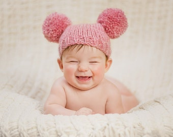 Knitted baby girl hat 3 6 9 months - pink rose quartz pom pom hat -  baby girl hat photo prop - hand knitted - baby shower gift - wool mix