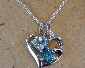 Double The Love Sterling Silver Heart Pendant with Two Blue Stones (st - 1459)