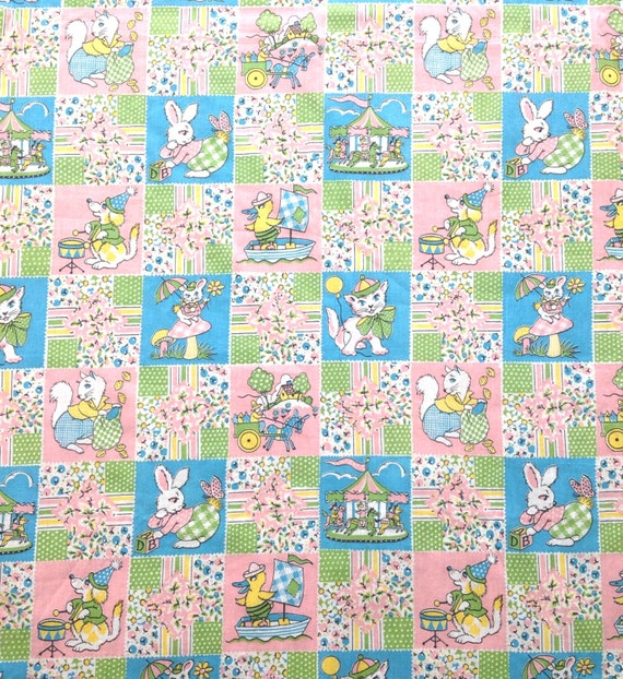 Nursery fabric child s print juvenile anthrpomorphic for Nursery print fabric