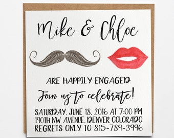 Mustache and Lips, Engagement invitation, Wedding Announcement, calligraphy, beard, kiss