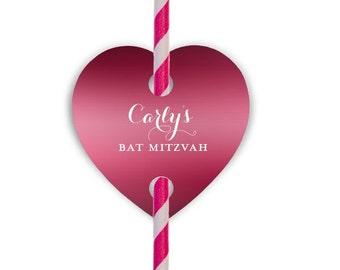 Bat Mitzvah Straws and Custom Heart Straw Tags   Bat Mitzvah Favors {lots of foil colors!}