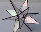 Sm.Stained Glass Tree Topper, Iridescent White Glass, Moravian Star, Tree Top Decoration, Christmas Star Ornament, 12 Point Star X'mas Tree