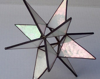 Stained Glass Tree Topper, Iridescent White Glass, Moravian Star, Tree Top Decoration, Christmas Star Ornament, 12 Point Star for X'mas Tree